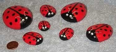 Ladybirds painted onto stones